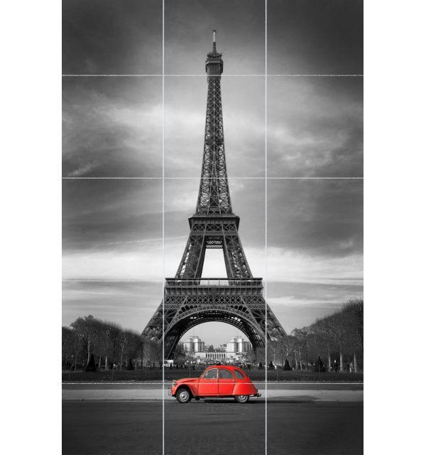 Crédence Carrelage Tour Eiffel et 2 cv