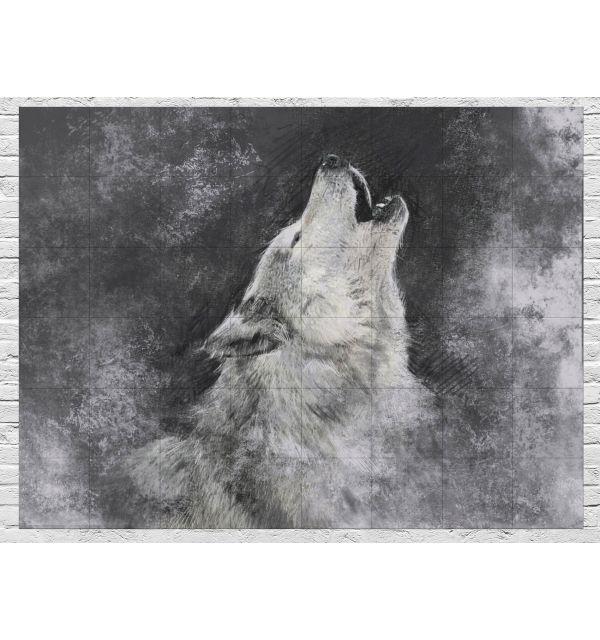 Crédence Loup Noir et Blanc